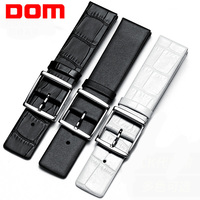 DOM Leather Watchband Genuine leather Strap 16mm 18mm 20mm 22mm Silver Metal Buckle Clasp Women Men Watch Band