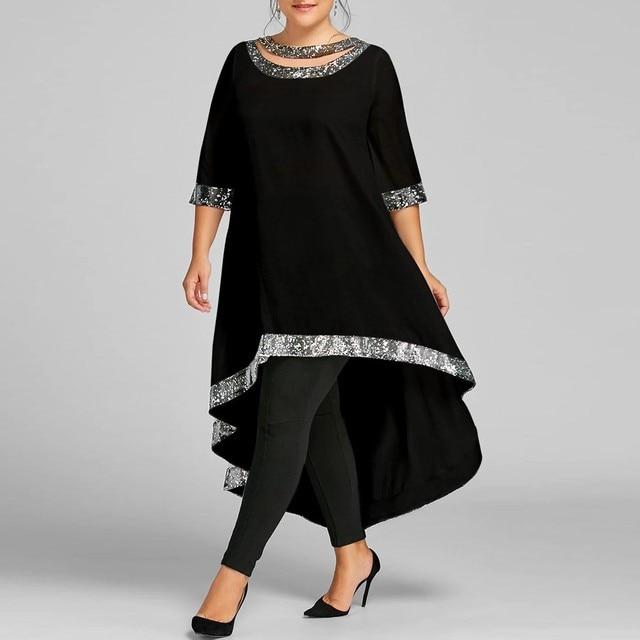 4#Plus Size Women Dresses Sequined Silk Trim O-Neck Half Sleeve High Low Party Dress Solid Vintage Elegant Spring Dresses платье 1