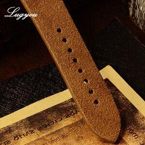 Image 4 - Lugyou san martin bronze mergulhador relógio automático rotativo bisel 200m resistência à água safira abobadada cristal pulseira de couro genuíno