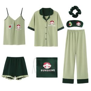 Image 2 - 2020 sommer Baumwolle Pyjamas für Frauen 7 Stück Set baumwolle Nachtwäsche Hause Kleidung Weiblichen v ausschnitt Shorts Hosen sexi schlaf tragen