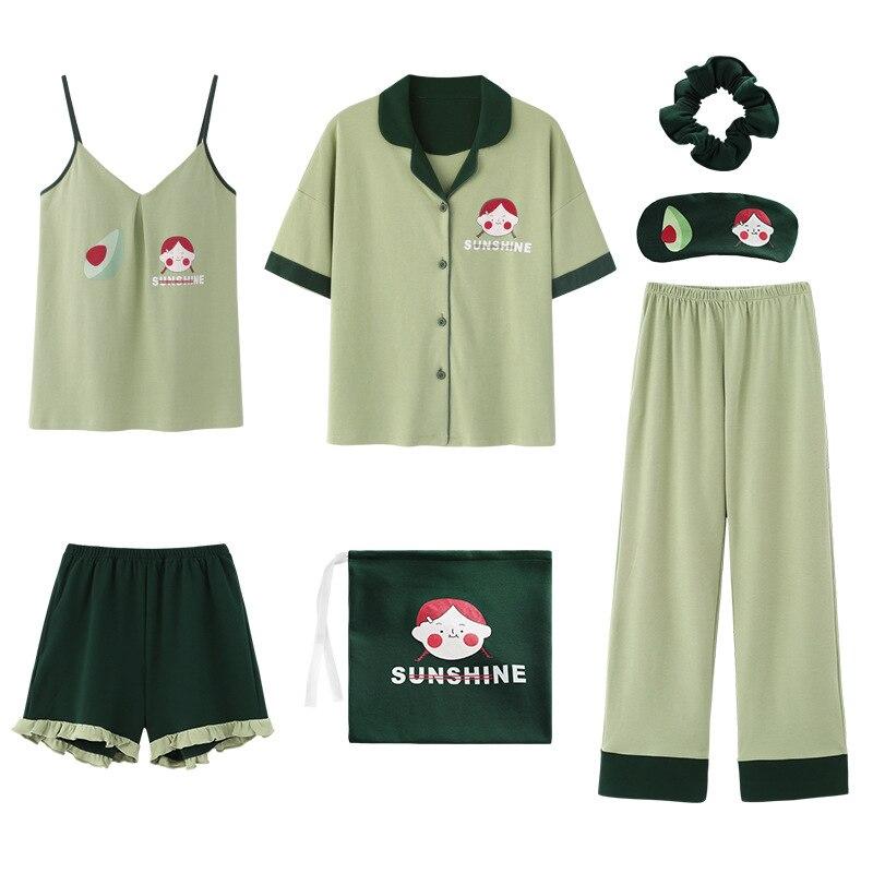 Image 2 - 2020 summer Cotton Pajamas for Women 7 Pieces Set cotton Sleepwear Home Clothes Female v neck Shorts Pants  sexi sleep wearPajama Sets   -