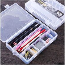 Sketch Pencil Case Simple Plastic Tool Box Artistic Supplies Storage Box Transparent Stationery Case Free space switching