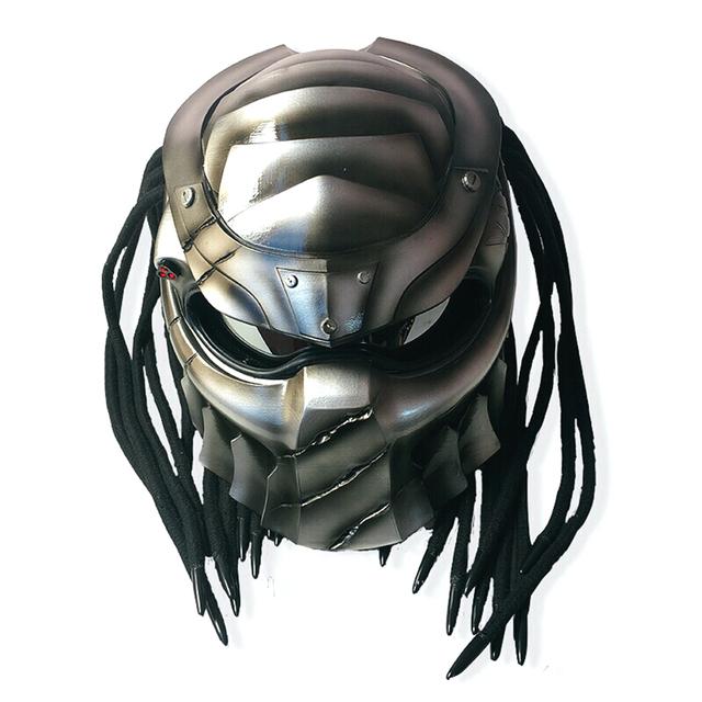 New Predators Helmet Flexible Strip Lighting Fiberglass Motorcycle Full Face Vintage Retro Helmet
