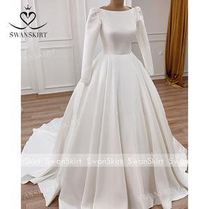 Image 5 - Атласное свадебное платье с длинным рукавом, винтажное платье принцессы с открытой спиной, ТРАПЕЦИЕВИДНОЕ ПЛАТЬЕ со шлейфом и пуговицами для невесты, vestido de noiva I195