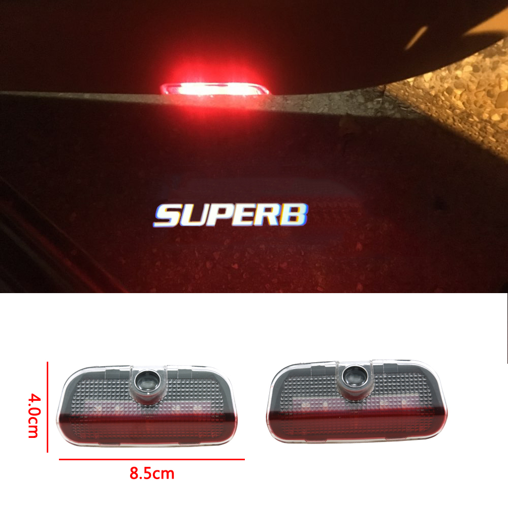 2pcs Hot Sale Led Logo Lamp Car Door Welcome Light Courtesy Decorative Light For Skoda Superb 2009-2018