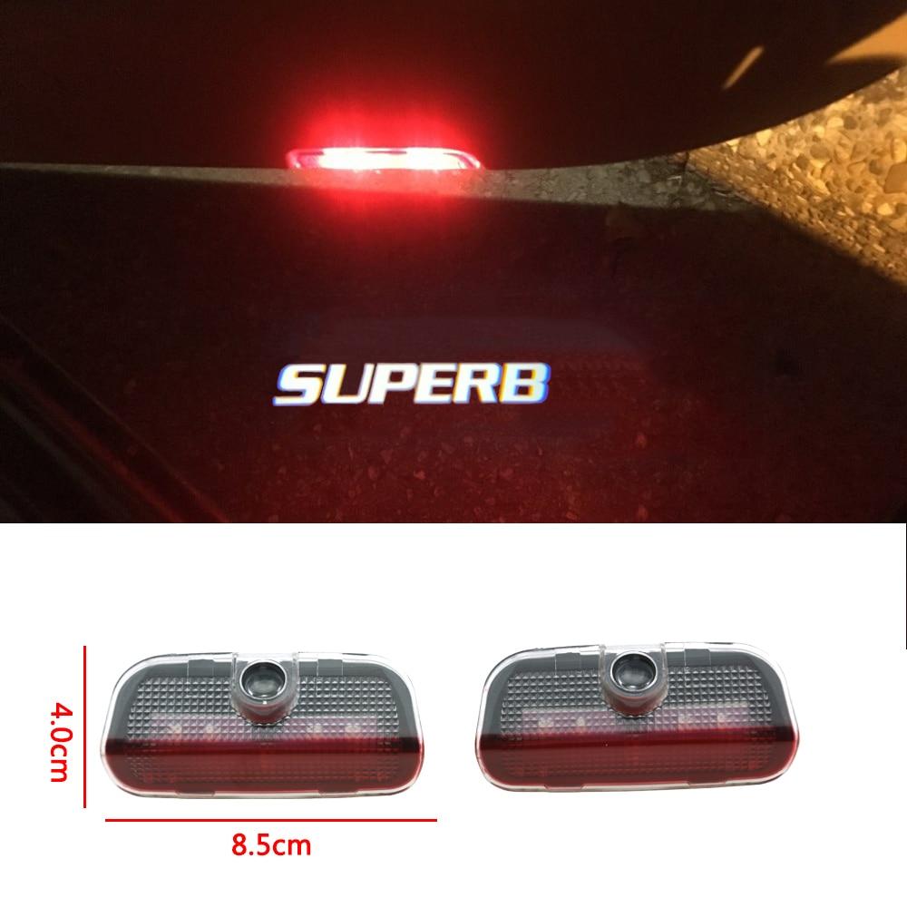 2pcs Hot Sale Led Logo Lamp Car Door Welcome Light Courtesy Decorative Light For Skoda Superb 2009-2018