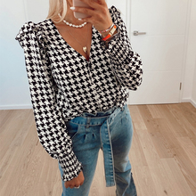 Simplee Elegant black plaid autumn winter women blouse Office lady ruffle puff long sleeve shirt V-neck short female blouse 2020