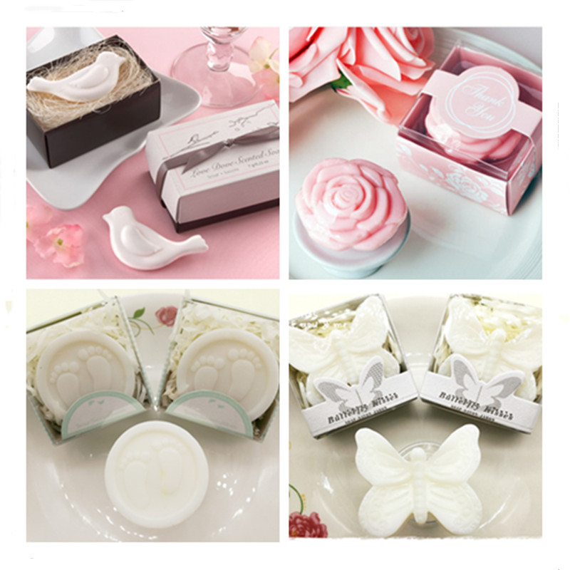 1Pc Handmade Rose Lovebirds Butterfly Bath Face Essential Oil Soap Wedding Souvenir Party Love Supplies Soapy Favor Gift Box