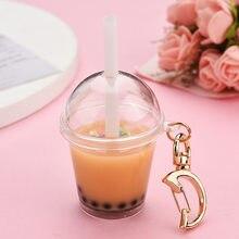 Mini Drink portachiavi decompressione gioielli simulazione perla latte tè acrilico portachiavi personalità luna fibbia portachiavi con paglia