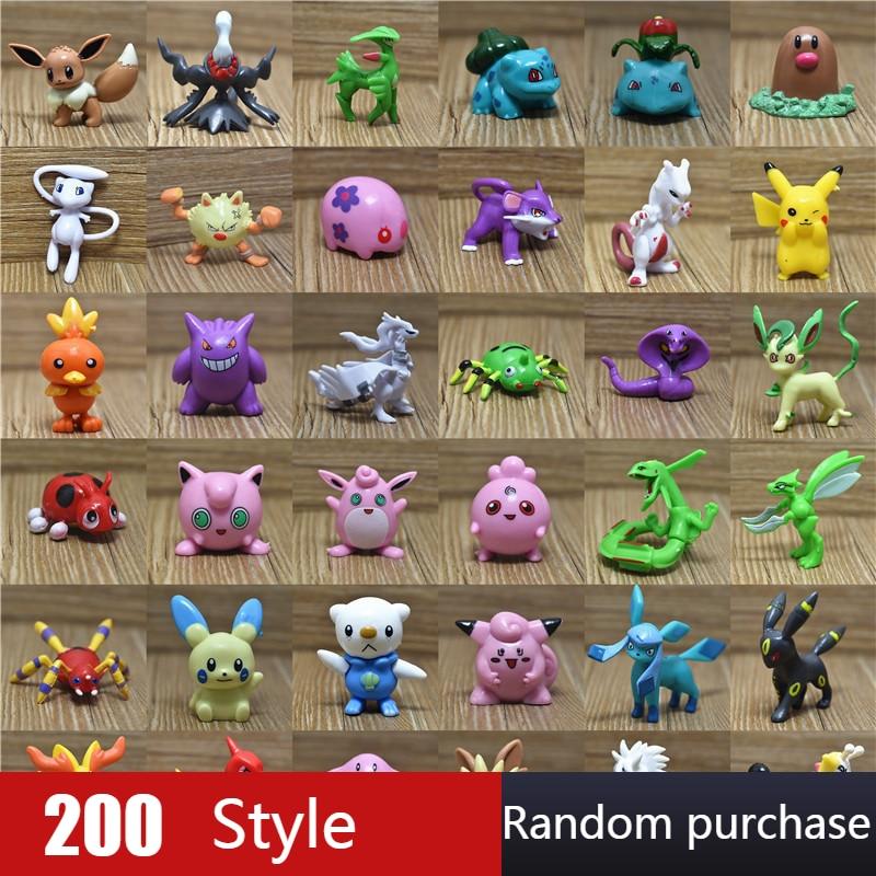 Wholesale 200 Styles Random Purchase 3.6-6cm Pokemon Pikachu Mewtwo Charizard Figure Action Toys For Children Gift