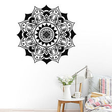 WJWY Mandalas Indian Pattern Yoga Flowers Wall Stickers For Decoration Art Mural Home Decor Self Adhesive Vinyl Wall Decals(China)