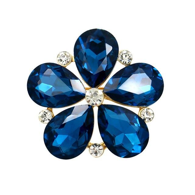 WEIMANJINGDIAN marque cinq pétales verre cristal fleur broche broches pour les femmes en bleu/rouge/vert/couleurs claires