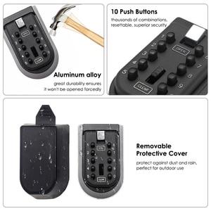Image 4 - Caja de bloqueo de almacenamiento de llaves para exteriores montado en la pared caja de seguridad de llave de contraseña de combinación de botón pulsador de 10 dígitos