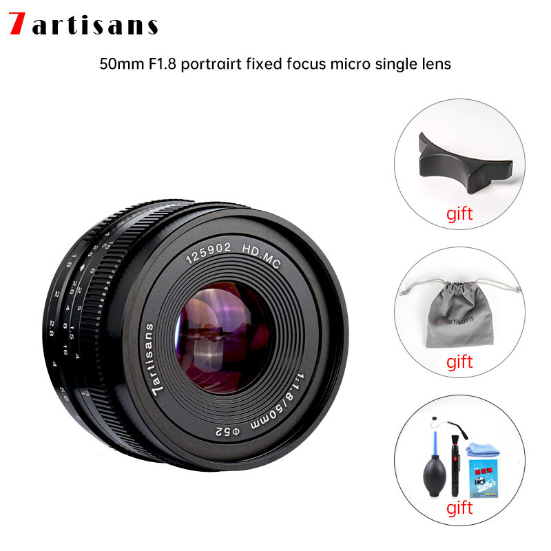 7artisans 50mm f1.8 Large Aperture Portrait Manual Focus Micro Camera Lens Fit for Canon eos-m Mount E-Mount Fuji FX-Amount