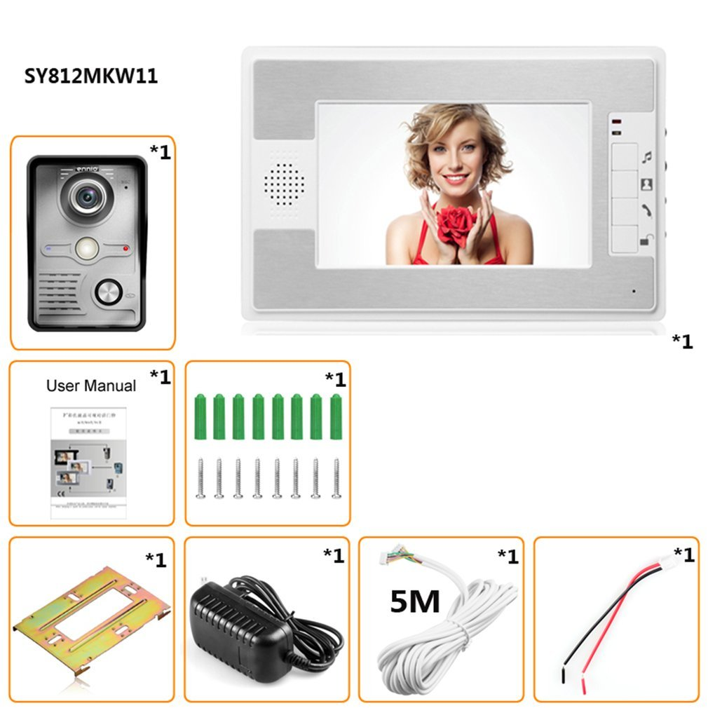 LESHP Wired Video Intercom Doorbell 7 Inch Display Waterproof Night Vision Color Hands-free Doorbell