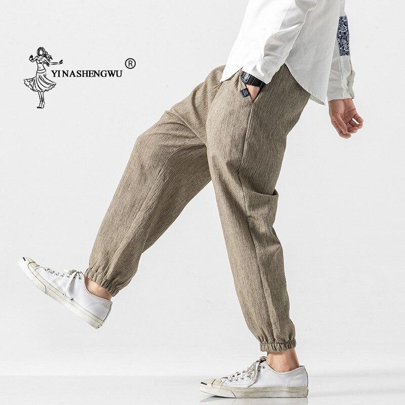 Casual Japanese Kimono Traditional Pants Casual Harem Pants Men Trousers Male Chinese Harajuku Linen Long Pants Asian Clothing