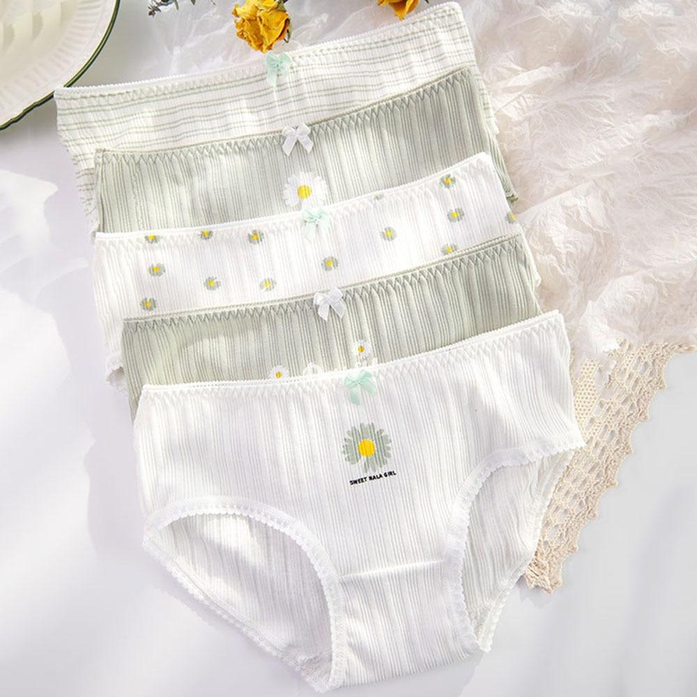 Autumn Winter Women Ladies Girl Small Daisy Print Underwear Cute Lingerie Underpants Cotton Cartoon Comfortable Briefs Panties