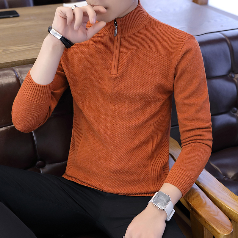Men Sweater Zipper Solid Mens Pullover Sweater Male Coat Man Sweaters Pull Clothes Long Sleeve Homme Shirt Spring Autumn K272