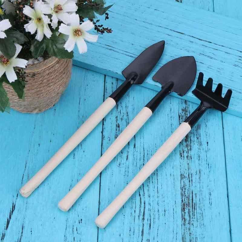3 pçs/set mini pá harrow flor pot ferramentas manutenção de madeira lidar com pás do solo planta ferramentas jardinagem fazenda decoração