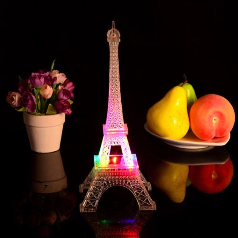 Colorful Eiffel Tower Nightlight LED Lamp Fashion Desk Bedroom Acrylic Light Changeable Mood Lamp Home Party Decoration 2018 New