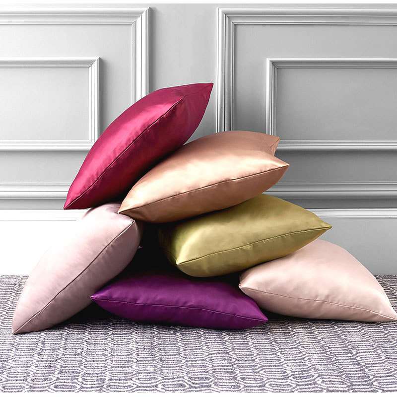 Shiny Pillowcase Throw Pillow Case Silk Decorative Cushion Cover For Sofa Bed Solid Pillow Covers 40x40 45x45 50x30 Cm