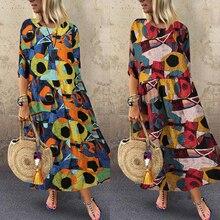 ZANZEA Women Summer Sundress Bohemian Printed Dress 2020 Fashion Casual Vestidos Long Maxi Dresses Beach Robe Femme Plus Size