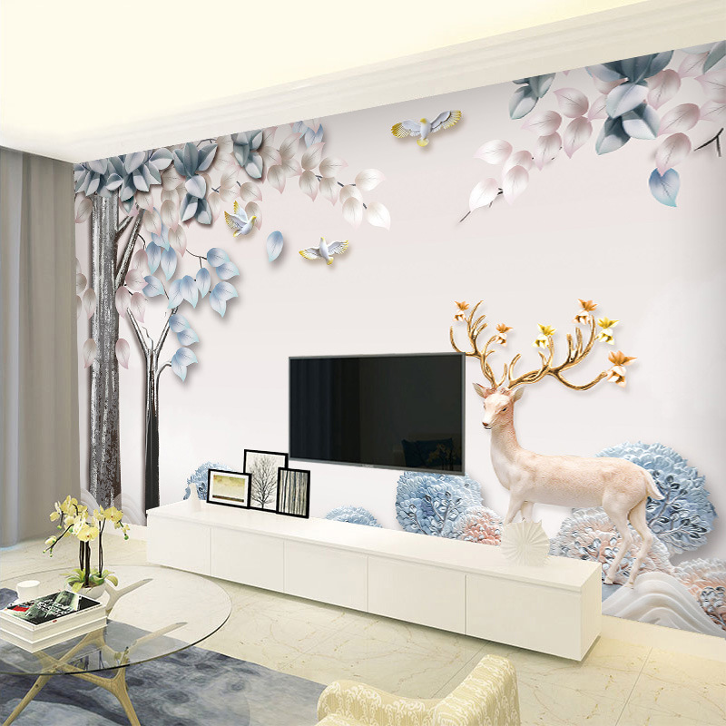 TV Backdrop Wallpaper Minimalist Modern Living Room 5D Stereo Wall Cloth Elk Nordic Film And Television Decoration Mural