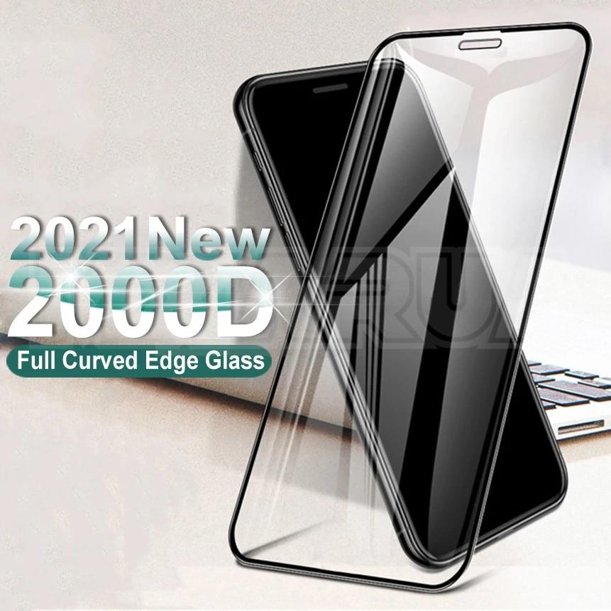 Изогнутое защитное стекло 2000D для iphone 6 6S 7 8 Plus SE, Защита экрана для iphone X XR XS 11 12 Pro Max, чехол из закаленного стекла
