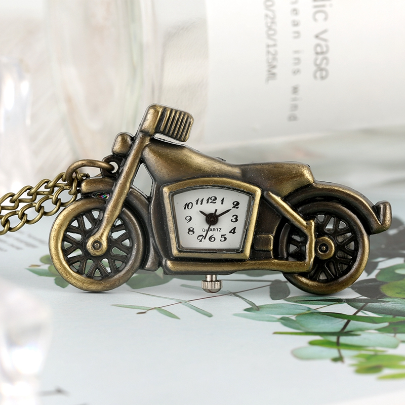 Creative Motorcycle Pocket Watches For Men Vintage Bronze Thin Chain Pendant Necklace FOB Watch For Teenagers Racing Enthusiast