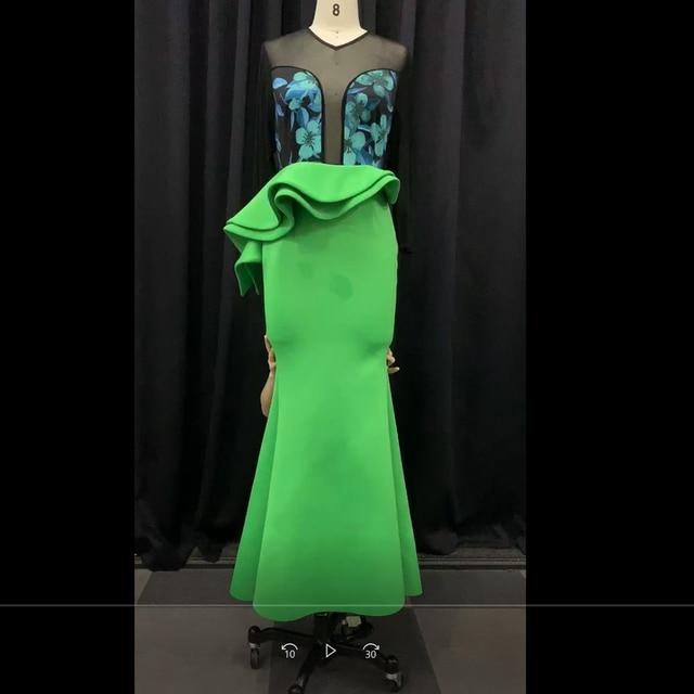 African Ladies Plus Size Bodycon Long Party Mermaid Dress Sexy Transparent Mesh Ruffles Women Wedding Evening Maxi Dress Trumpet 3