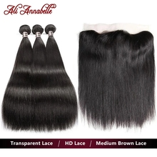 Bundle Frontal Human-Hair Transparent Straight Brazilian Lace 13x4 Ali
