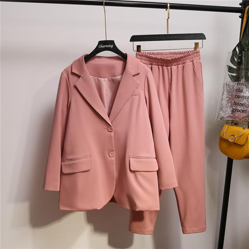 XL-5XL Plus Size Single Breasted Women Pant Suit Autumn Large Size Notched Blazer Jacket Pant Sets 2019 Office Lady Pant Suits
