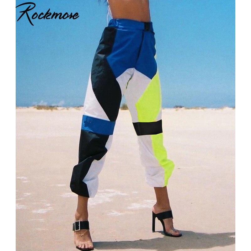 Rockmore Color Patchwork Pencil   Pants   Women Streetwear Buckle Joggers   Wide     Leg     Pants   High Waist Trousers Loose Sweatpants Women