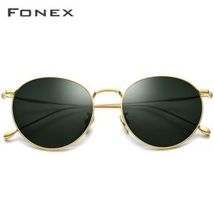 Image 2 - FONEX التيتانيوم النقي النظارات الشمسية الرجال خمر صغيرة مستديرة نظارات شمسية مستقطبة للنساء 2019 الرجعية عالية الجودة UV400 ظلال 8508