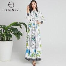 SEQINYY Elegant Long Dress 2020 Spring Autumn New Fashion Design Blue Green Flowers Printed A-line White Women