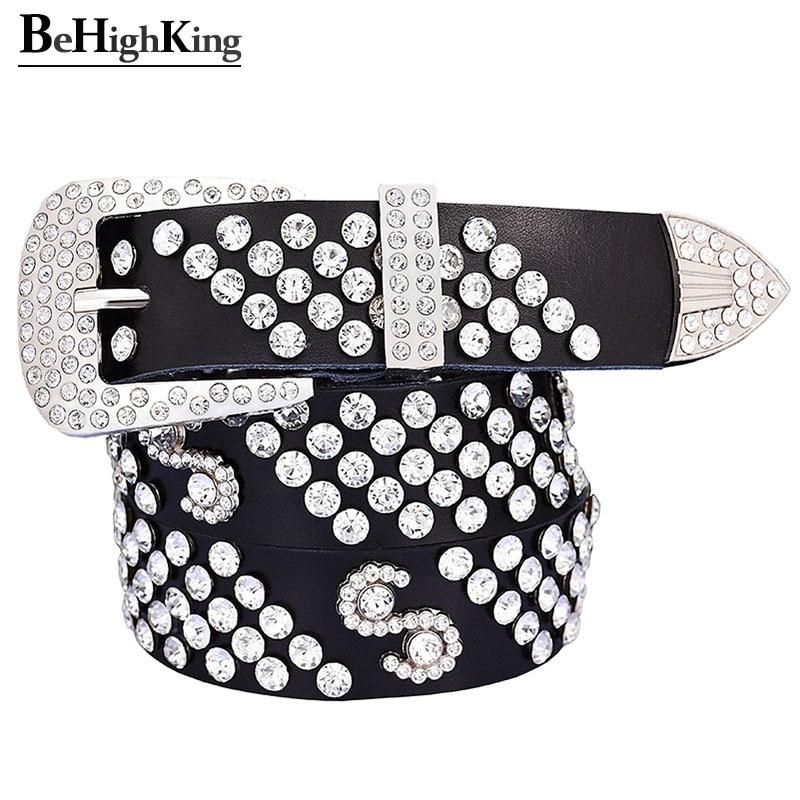 Fashion Rhinestone Belts For Women Quality Genuine Leather Belt Female Shining Diamond Silver Pin Buckle Strap Width 3.3 Cm