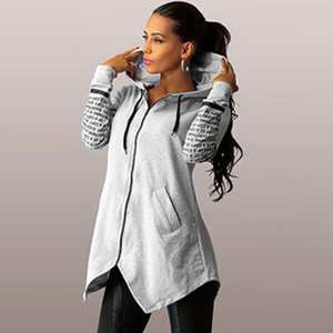 Hoodies Women Pullovers Sweatshirts Soft-Letter Simple All-Match-Pockets Printed Trendy