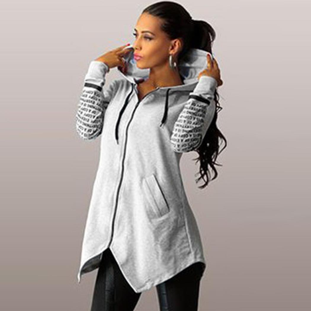 Hoodies Women Pullovers Sweatshirts Soft-Letter Printed All-Match-Pockets Trendy Leisure