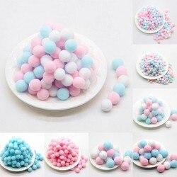 Pompones cores mistas rosa azuis 8/10/15/20/25/30mm pom diy bolas de pompom brilhantes para artesanato, decoração de natal e casamento, bolas