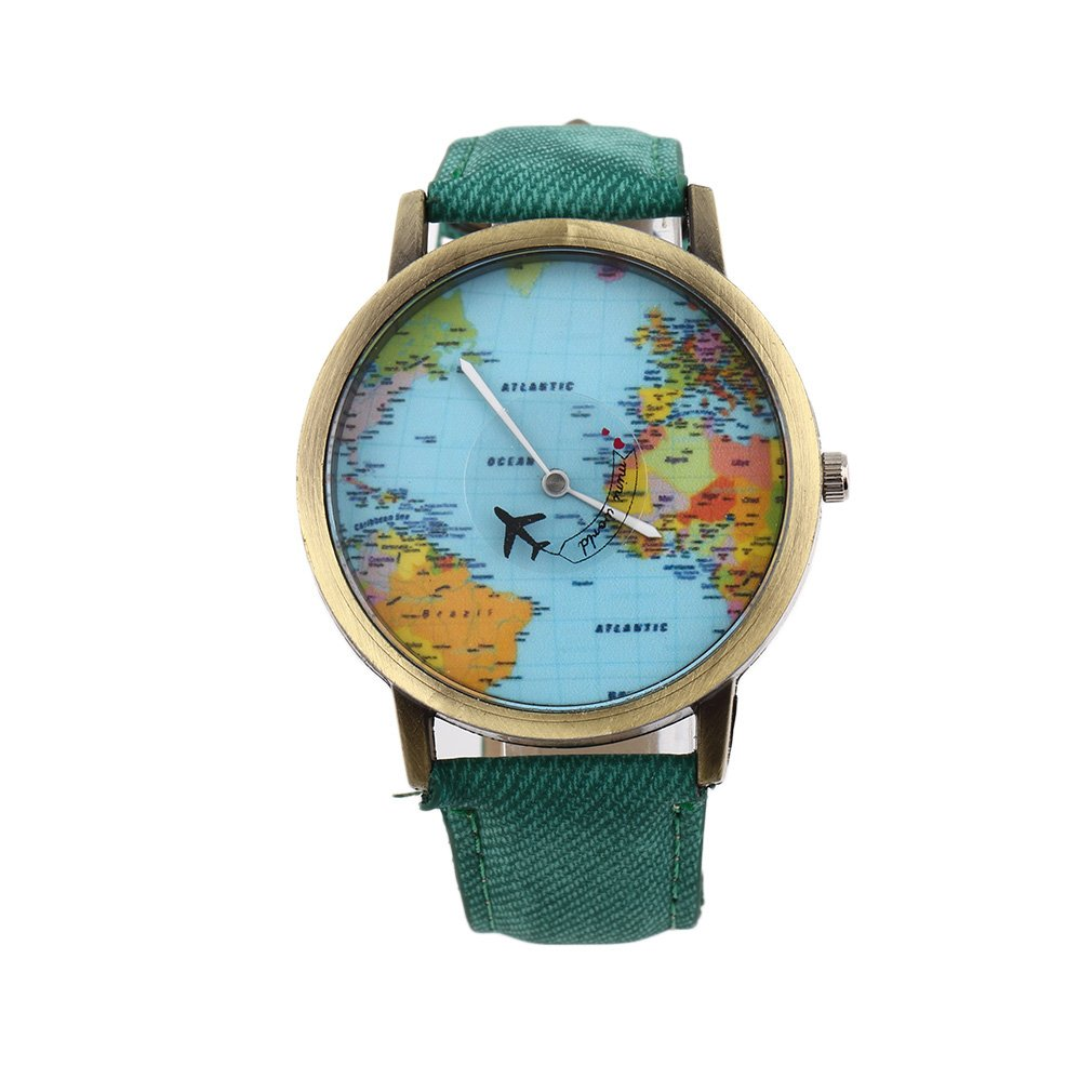 Women Men Unisex Fashion Vintage Casual World Map watch By Airplane belt Dial Analog Quartz Wrist Watch Hot image