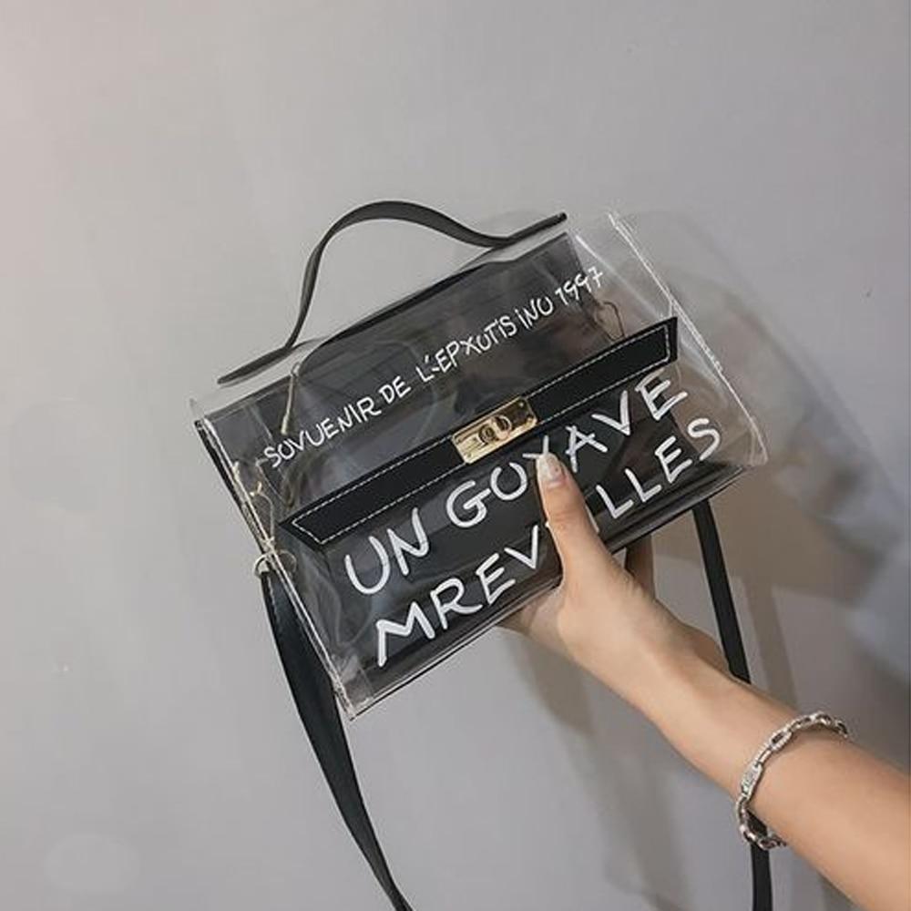 Fashion New Ladies PVC Transparent Cross Body Messenger Bag Women Shoulder Over Bags Detachable Handbags
