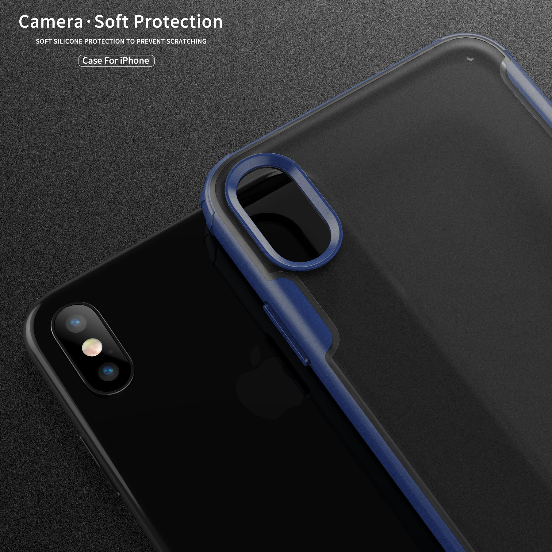 for iPhone Xs MAX XR Case ICONFLANG Shockproof Ultra Thin Slim Transparent Crystal Clear PC Back Cover with Rubber TPU Bumper in Half wrapped Cases from Cellphones Telecommunications