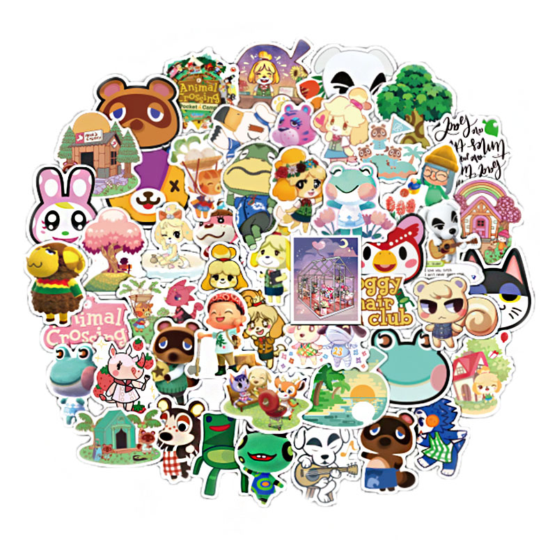 50Pcs Game Animal Crossing Cartoon Animation Sticker ForComputer Motorcycle Skateboard Guitar Toy Game Machine Children Gift