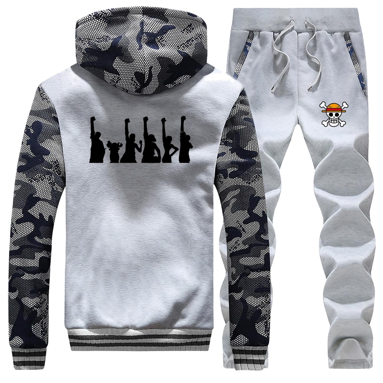 Japan Anime One Piece Mens Hoodies Sportswear Camouflage Coat Thick 2019 Winter New Fleece Warm Jackets Suit+Pants 2 Piece Set