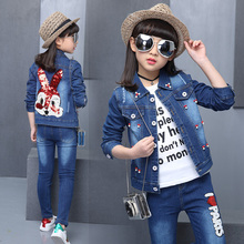 2019 Spring Autumn Girls Clothes denim Jacket+T shirt + Jeans 3 Pcs Set Fashion embroider rabbit Kids Coat for 4 6 8 9 10 15Year