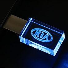 Pen drive 8gb pendrive 16gb 32gb 64gb 128gb de armazenamento externo da vara da memória da movimentação do flash de usb do metal de cristal quente do sinal do carro de kia