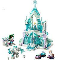 25002 731 PCS Model Building Blocks Kits Girl Friends Elsa Magic Ice Castle Palace Bricks Figure Compatible with 41148