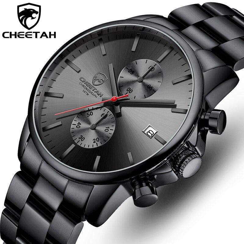 CHEETAH Watch Fashion Quartz Sport Wristwatches Luxury Stainless Steel Mens Watches Business Analog Male Clock Relogio Masculino