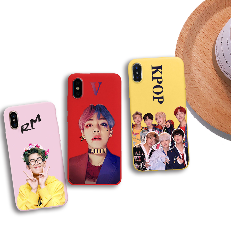 Kpop Bangtan Boys Phone Case Soft Silicone Candy Color Cover For IPhone X XR XS MAX 5