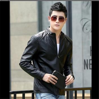 New Temperament Fashion Jacket Men Leather Coat Plus Size Sheepskin Jacket Youth Motorcycle Clothing Slim Short Coat Jacket Tide